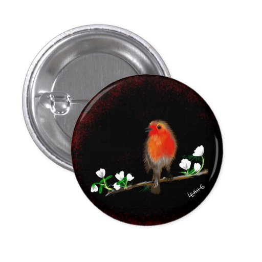 Red Robin badges buttons, original art drawing Pinback Button