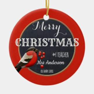 Red Robin Berry Chalkboard Christmas Teacher Ceramic Ornament