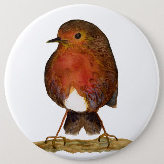 Red Robin Bird Watercolour Painting Pinback Button