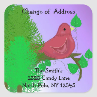 Red Robin Change of Address Square Sticker