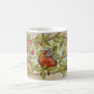 Red Robin Eating Red Berries - Watercolor Painting Coffee Mug