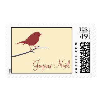 Red robin Joyeux Noël Christmas contemporary stamp