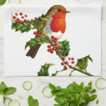 "Red Robin kitchen towel<br><div class=""desc"">This item is made with an image of a red robin perching on a holly berry branch</div>"
