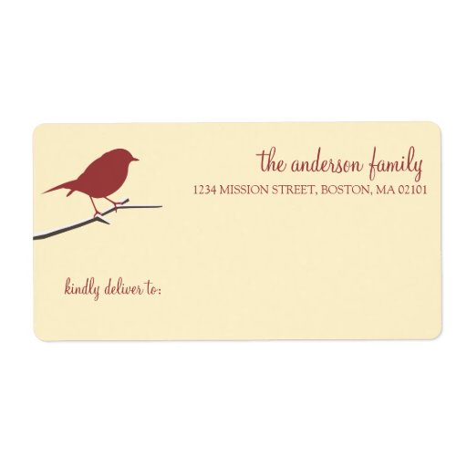 Red robin on snowy branch simply elegant mailing custom shipping label