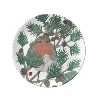 Red Robin, Pine Tree, Decorative Plate