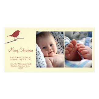 Red robin snowy branch cream Merry Christmas Card