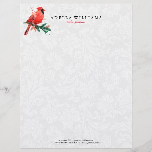 Red Robin watercolors illustration Letterhead