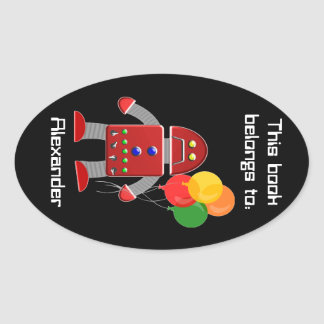 Red Robot and Balloons Book Label Name Plate Oval Sticker