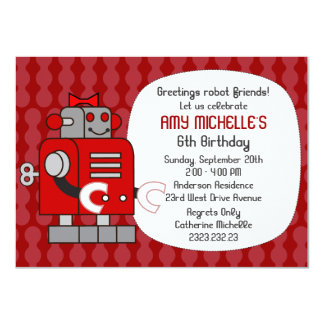 Red Robot Birthday Girl Party Invitation
