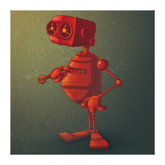 Red robot stretched canvas print