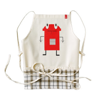 Red robot cartoon zazzle HEART apron