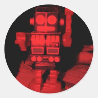 Red Robot Classic Round Sticker
