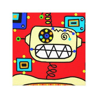 Red Robot Portrait Canvas Print