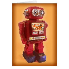 Red Robot Thank You Greeting Card