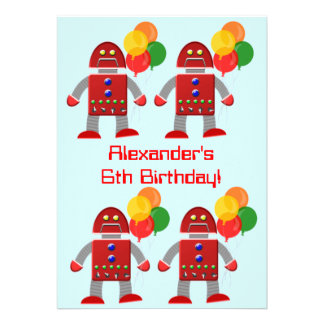 Red Robot With Balloons Birthday Party Custom Invitations