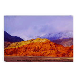 Red Rock and Clouds Print