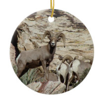 Red Rock Big Horn Sheep Ceramic Ornament
