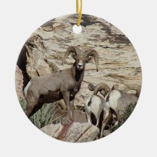 Red Rock Big Horn Sheep Ceramic Ornament