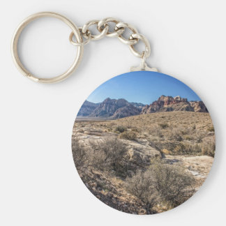 Red Rock Canyon & Dry Riverbed Basic Round Button Keychain