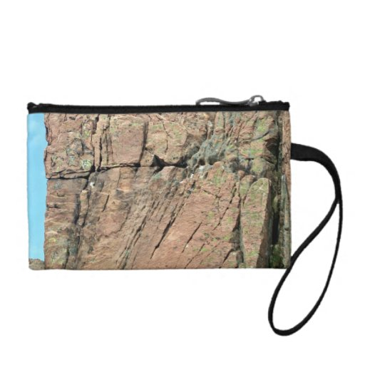 Red Rock Cliff  Against Blue Sky with Partial Clou Coin Purses