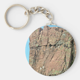 Red Rock Cliff  Against Blue Sky with Partial Clou Key Chains