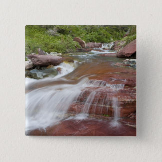 Red rock in Baring Creek in Glacier National Pinback Button