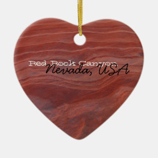 Red Rock Layer Study; Nevada Souvenir Double-Sided Heart Ceramic Christmas Ornament
