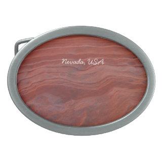 Red Rock Layer Study; Nevada Souvenir Oval Belt Buckle