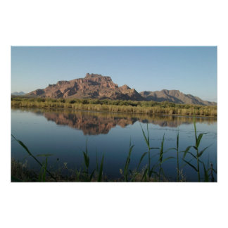 Red Rock Mountain behind the Lower Salt River Poster