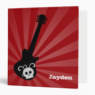 Red Rock Star Guitar Personalized Binder