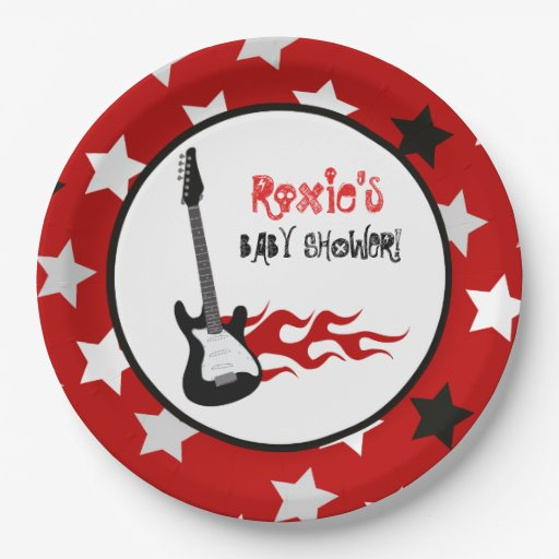 Red Rock Star Rock-a-Bye Paper Plates