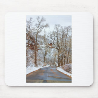 Red Rock Winter Road Portrait Mouse Pad