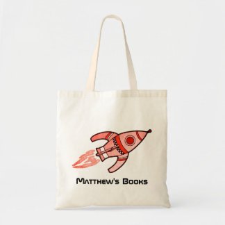 Red rocket kids named id library tote bag