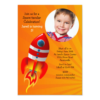 Red Rocket Photo Birthday Party Invitation