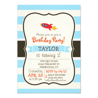 Red Rocket Space Ship; Light Blue Stripes 5x7 Paper Invitation Card