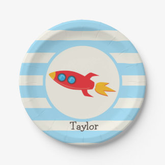 Red Rocket Space Ship; Light Blue Stripes 7 Inch Paper Plate