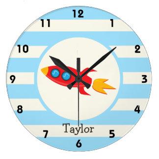 Red Rocket Space Ship; Light Blue Stripes Large Clock
