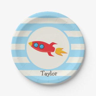 Red Rocket Space Ship; Light Blue Stripes Paper Plate