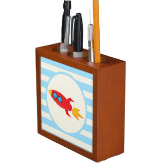 Red Rocket Space Ship; Light Blue Stripes Pencil Holder