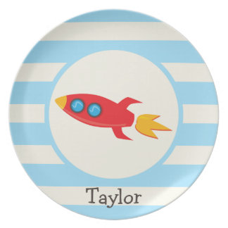 Red Rocket Space Ship; Light Blue Stripes Party Plate