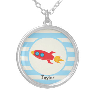 Red Rocket Space Ship; Light Blue Stripes Round Pendant Necklace