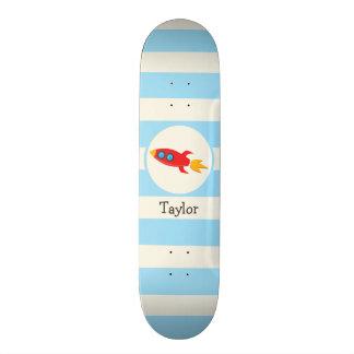 Red Rocket Space Ship; Light Blue Stripes Skateboard Deck