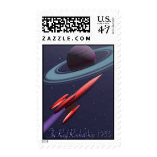 Red Rocketship 1955 Postage