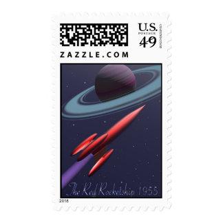 Red Rocketship 1955 Postage Stamp