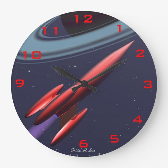 Red Rocketship Large Clock