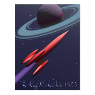 Red Rocketship Postcard