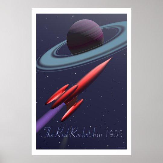 Red Rocketship Poster