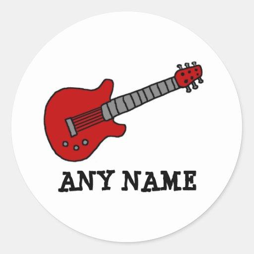 Red Rockin' Guitar Classic Round Sticker