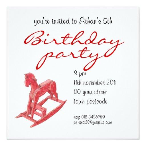 "Red Rocking Horse Birthday Party Invitation 5.25"" Square Invitation Card"