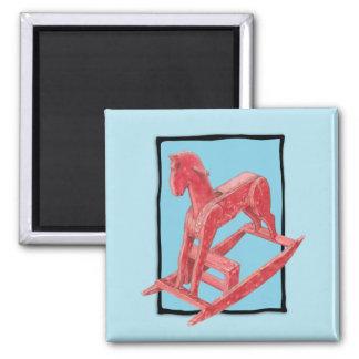 Red Rocking Horse blue Magnet